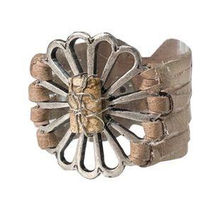 New LeatheRock Leather Stone Flower Bracelet